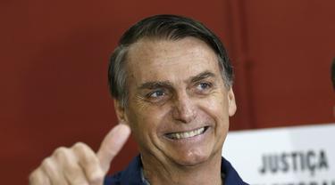 Kandidat sayap kanan Jair Bolsonaro memenangkan pemilihan presiden Brasil 2018 (AP/Silvia Izquierdo)