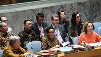 Menteri Luar Negeri Republik Indonesia, Retno Marsudi, memimoin rapat di Majelis Umum DK PBB pada Selasa, 7 Mei 2019 (Kemlu RI)