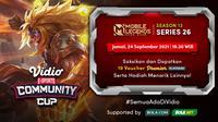 Jadwal dan Live Streaming Vidio Community Cup Season 13 Mobile Legends Series 26, Jumat 24 September 2021. (Sumber : dok. vidio.com)