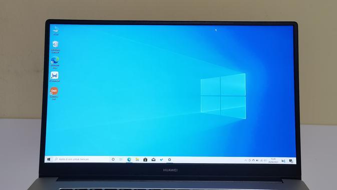 Laptop terbaru Huawei MateBook D15 versi Intel memiliki layar IPS FHD seluas 15,6 inci (Liputan6.com/ Agustin Setyo W).
