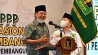Ketua Umum PPP Suharso Monoarfa dan Djan Faridz di Rapimnas I. (Delvira Hutabarat/Liputan6.com)
