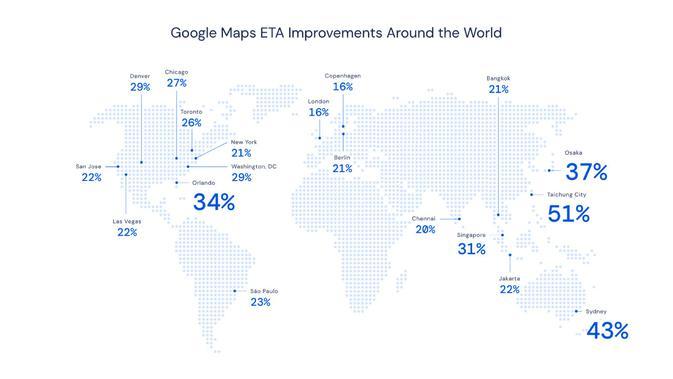 Peningkatan Akurasi Perkiraan Waktu Kedatangan di Google Maps. Kredit: DeepMind