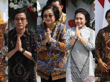 Foto kolase lima menteri perempuan yang masuk Kabinet indonesia Maju, mereka adalah Ida Fauziah, Sri Mulyani, Siti Nurbaya, Gusti Ayu Bintang Darmavati dan Retno Marsudi (kiri ke kanan). Kelimanya terpilih menjadi menteri pada Kabinet Indonesia Maju periode 2019-2024. (Liputan6.com/Angga Yuniar)