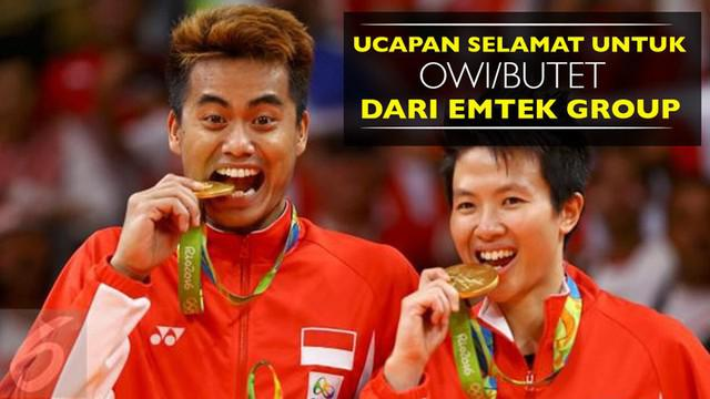 Video ucapan selamat untuk peraih medali emas di Olimpiade Rio 2016, Tontowi Ahmad dan Liliyana Natsir (Owi / Butet), dari Emtek Group.
