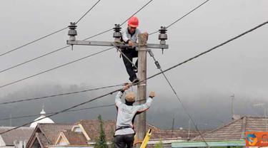 Citizen6, Malang: Unit Pelayanan Jaringan ( UPJ) Tumpang melakukan pemeliharan Jaringan 20 KV, dalam peningkatan kemampuan pasokan dan pelayanan listrik di desa Ranupani kec. Senduro, Kab. Lumajang Jawa Timur, Sabtu (7/4). (Pengirim: Badarudin Bakri)
