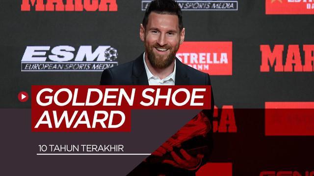Berita motion grafis peraih Golden Shoes dalam satu dekade terakhir, Lionel Messi dan Cristiano Ronaldo mendominasi