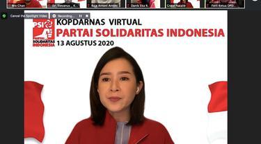 Ketua Umum PSI menyampaikan pidato dalam Kopdarnas PSI.