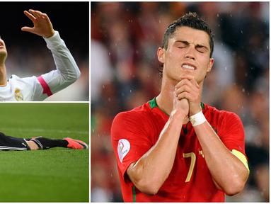 Meski memiliki segudang prestasi kelas dunia, Cristiano Ronaldo tidak luput dari berbagai kegagalan. Berikut ini sembilan ekspresi kekecewaan Cristiano Ronaldo sepanjang kariernya. (Kolase foto-foto dari AFP)