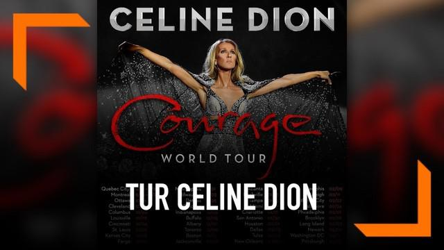 Celine DIon mengumumkan rencana tur dunia album terbarunya dengan judul 'Courage'.