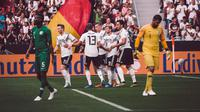 Para pemain Jerman merayakan gol yang dicetak Timo Werner. (doc. DFB)