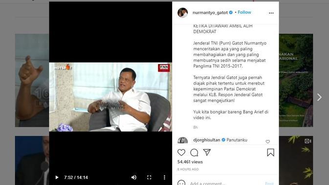 Mantan Panglima TNI Gatot Nurmantyo mengklaim pernah diajak untuk mengudeta AHY dari Demokrat. (Instagram @nurmantyo_gatot)