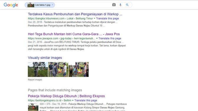 Hasil penelusuran foto penggunakan Google Reverse Images