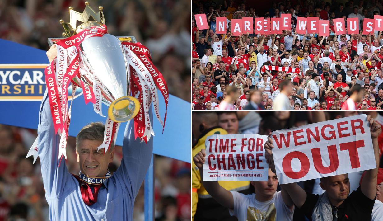 Pelatih Arsenal, Arsene Wenger, akhirnya mengumumkan pensiun pada akhir musim 2017/2018. Selama 22 tahun membesut The Gunners, dirinya pernah membawa kejayaan namun kerap pula mendapatkan caci maki. (Kolase foto-foto dari AFP)