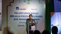 Presiden Direktur AXA Mandiri, Handojo G. Kusuma saat memberikan kata sambutan tentang fitur wakaf dari AXA Mandiri Syariah,di Epicentrum Walk, Jakarta, Senin (13/5/2019).