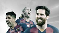 3 pemain Barcelona: Luis Suarez, Antoine Griezmann dan Lionel Messi. (Bola.com/Dody Iryawan)