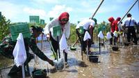 Penanaman 5000 pohon Mangrove di Pantai Pantai Cemara, Lombok Barat dipimpin langsung Ibu Shobibah Rohmah Nahrowi (Istri Menteri Pemuda dan Olahraga RI) bersama Ibu Trisna Willy Lukman Hakim (Istri Menteri Agama RI).