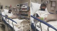 Terbaring di rumah sakit dengan peralatan medis, guru ini tetap mengajar. (Sumber: World of Buzz)