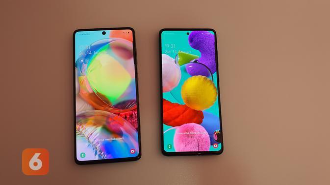 Tampilan bodi dengan kedua smartphone baru Samsung, Galaxy A71 (kiri) dan Galaxy A51 mengusung layar lebar dengan desain lubang di layar atau Infinity O (Liputan6.com/ Agustin Setyo W).