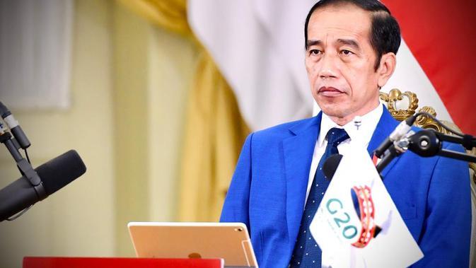 Jokowi  menghadiri rangkaian  KTT G-20 secara virtual dari Istana Kepresidenan Bogor, Minggu (22/11/2020) malam. (Foto: Biro Pers Sekretariat Presiden)