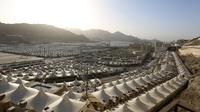 Pemandangan tenda-tenda jemaah yang berada di antara Padang Arafah dan Mina, di Makkah, Arab Saudi (23/6/2020).(AFP Photo/STR)