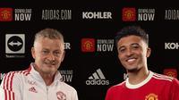 Jadon Sancho resmi bergabung dengan Manchester United. (Twitter Manchester United).