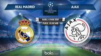 Jadwal Liga Champions 2018-2019, Real Madrid vs Ajax, Rabu (6/3/2019) di Santiago Bernabeu, Madrid. (Bola.com/Dody Iryawan)