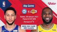 Live streaming pertandingan NBA, Sixers vs Lakers, Kamis (28/1/2021) pukul 07.30 WIB dapat disaksikan melalui platform Vidio. (Dok. Vidio)