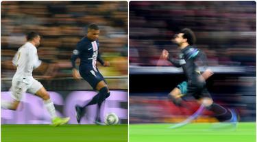 Pemain Paris Saint-Germain, Kylian Mbappe, dinobatkan sebagai pemain tercepat di dunia. Kecepatan Mbappe menjadi keunggulan yang membuatnya dianggap sebagai salah satu striker top Eropa. Berikut Kylian Mbappe dan 6 pemain tercepat di dunia. (kolase foto AFP)