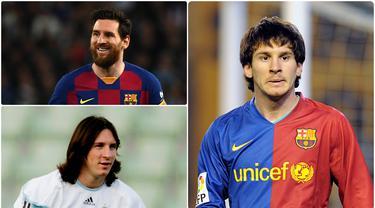 Bintang Barcelona, Lionel Messi, ternyata memiliki banyak perubahan gaya dan fisik selama 12 tahun berkarier di dunia sepak bola. Berikut perubahan wajah Lionel Messi dari 12 tahun lalu sampai sekarang. (kolase foto AFP)