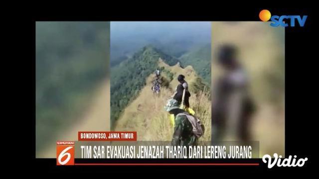 Tim SAR butuh waktu 10 jam untuk evakuasi jasad Thariq Ahmad Maulidan, pendaki yang hilang di Bukit Piramid, Bondowoso, Jawa Timur.