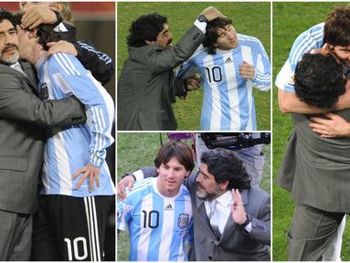 Diego Maradona dan Lionel Messi merupakan dua pesepak bola terbaik dan terbesar yang pernah ada di dunia. Keduanya pernah bekerja sama saat membela Timnas Argentina di Piala Dunia 2010 di Afrika Selatan. Berikut momen kedekatan mereka.