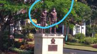 Masker menutup wajah patung di Monumen Pahlawan TRIP Kota Malang (Tim Ahli Cagar Budaya Kota Malang)