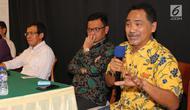 Direktur Eksekutif Freedom Institute, Rizal Mallarangeng (kanan) saat hadir pada diskusi publik Judicial Review Masa Jabatan Cawapres, Konstitusi dan Reformasi di Jakarta. (Liputan6.com / Fery Pradolo)