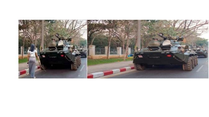Klaim netizen (kiri) dan foto asli (kanan)