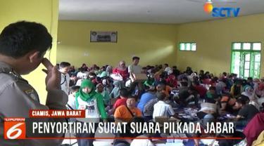 KPUD Kabupaten Ciamis lakukan penyortiran dan pelipatan surat suara untuk Pilkada 2018.