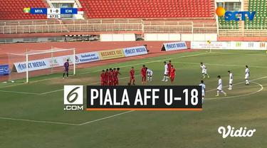 Timnas Indonesia U-18 menantang Myanmar pada laga terakhir penyisihan Grup A Piala AFF 2019 yang berlangsung di Thong Nhat Stadium, Vietnam, Rabu (14/8/2019). Pada pertandingan kali ini skor akhir 1-1
