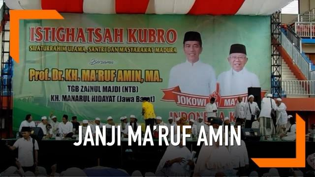 Saat kampanye di Madura, Ma'ruf Amin akan beri pelajar dan santri beasiswa hingga kuliah.