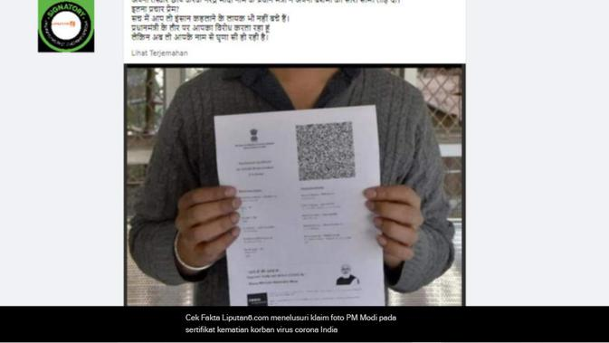 Cek Fakta Liputan6.com menelusuri klaim foto PM Modi pada sertifikat kematian korban virus corona India