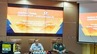 Kepala Laboratorium Pengukuran Ketahanan Nasional Lembaga Ketahanan Ketahanan Nasional Dadan Umar Daihani memberikan keterangan pers di Kantornya, Jakarta, Selasa (23/4/2019).