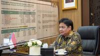 Menteri Koordinator Bidang Perekonomian Airlangga Hartarto dalam Konferensi Pers PPKM secara virtual, di Jakarta, Senin (6/9/2021).