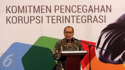 Dirut BPJS Ketenagakerjaan (BPJSTK) Agus Susanto memberikan pidato saat acara penandatangan Komitmen Anti Korupsi bersama KPK di Jakarta, Rabu (14/9). (Liputan6.com/Helmi Afandi)