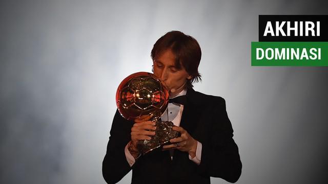 Berita video gelandang Real Madrid asal Kroasia, Luka Modric, meraih Ballon d'Or 2018 sekaligus mengakhiri dominasi Lionel Messi dan Cristiano Ronaldo dalam satu dekade terakhir.