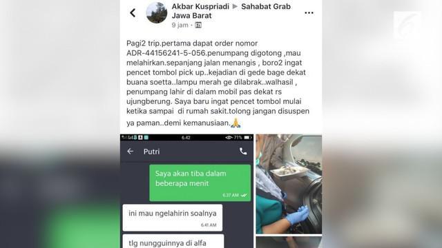 Seorang sopir taksi online banjir pujian lantaran siap siaga dalam mengantarkan penumpang yang hampir melahirkan.