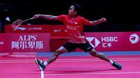 Tunggal putra Indonesia Anthony Sinisuka Ginting saat berlaga pada BWF World Tour Finals 2019 di Tianhe Gymnasium, Tiongkok. (foto: PBSI)