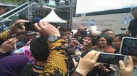 Menteri Keuangan (Menkeu) Sri Mulyani saat menjadi pembicara di hadapan para blogger di kawasan Lippo Mall Kemang Jakarta, Sabtu (21/10/2017). (Liputan6.com/Achmad Dwi Apriyadi)
