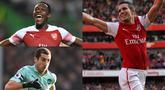 Manchester United dan Arsenal dikenal sebagai klub yang disegani di dunia. Hubungan kedua klub tersbeut juga dikeal harmonis. Tak ayal banyak pemain yang pernah bermain bersama Man United dan Arsenal. (Kolase Foto AFP)