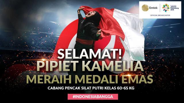 Selamat Meraih Medali Emas Pipiet Kamelia (Bola.com/Grafis: Adreanus Titus /Foto: Merdeka.com/Imam Buhori)