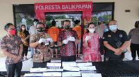 Jumpa pers kasus narkoba di Polresta Balikpapan.