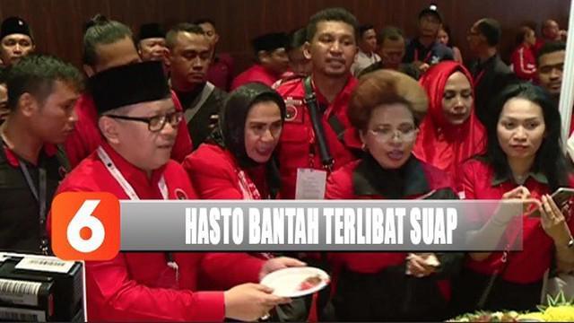 Hasto Kristiyanto membantah terlibat dalam kasus suap Komisioner KPU Wahyu Setiawan.