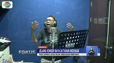 Komika Stand Up Jarwo Kwat, Cing Abdel, dan Mo Sidik, akan bernyanyi di Konser Raya 24 Tahun Indosiar Luar Biasa.